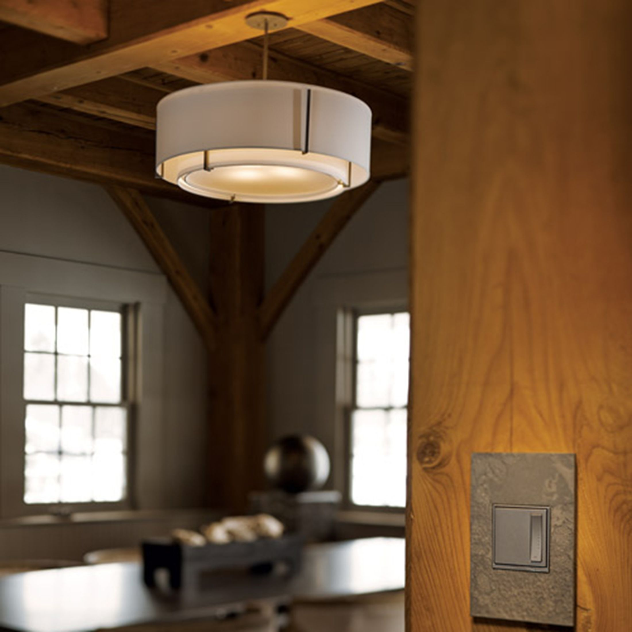 Exos Double Shade Semi Flush Hubbardton Forge