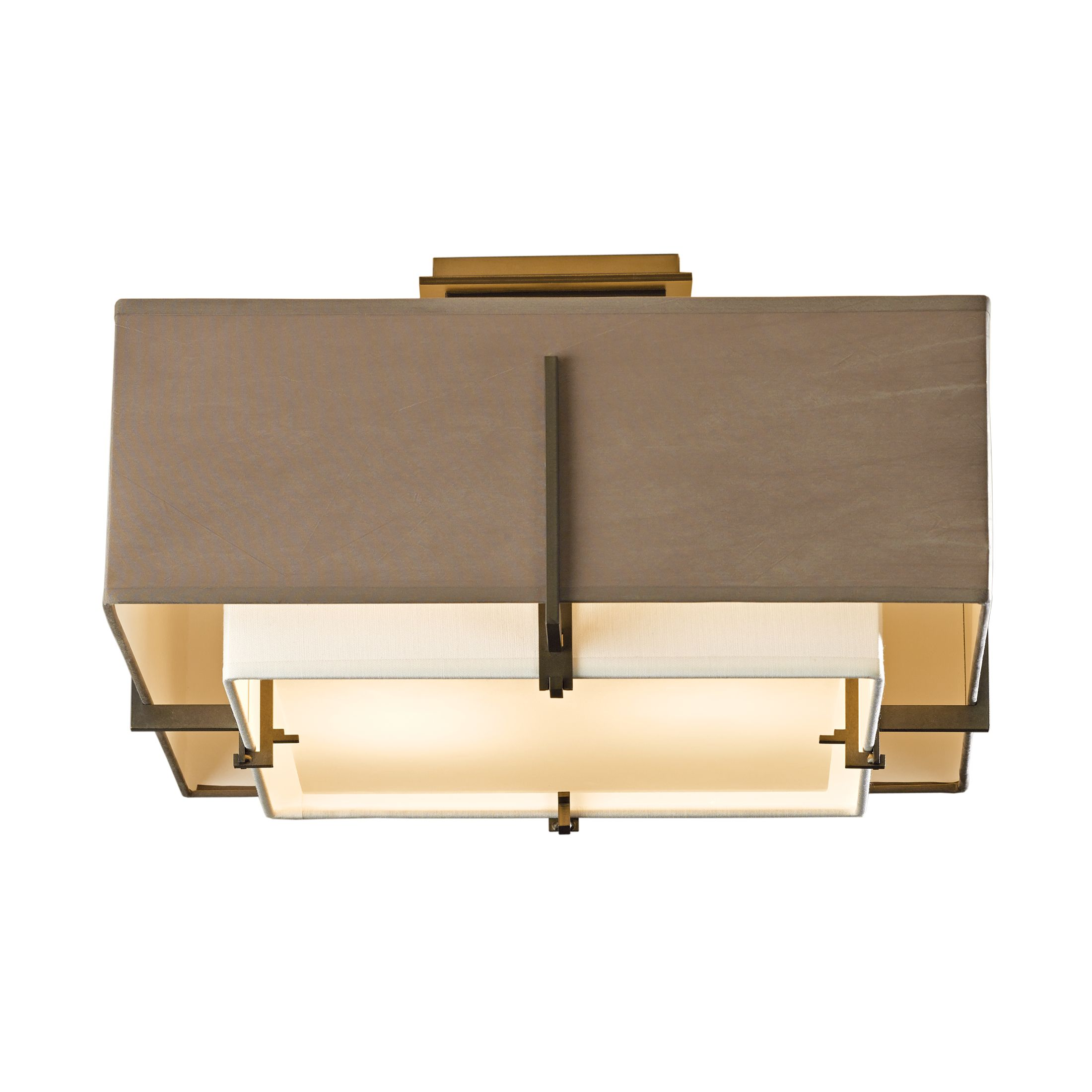 Exos Square Small Double Shade Semi Flush Hubbardton Forge