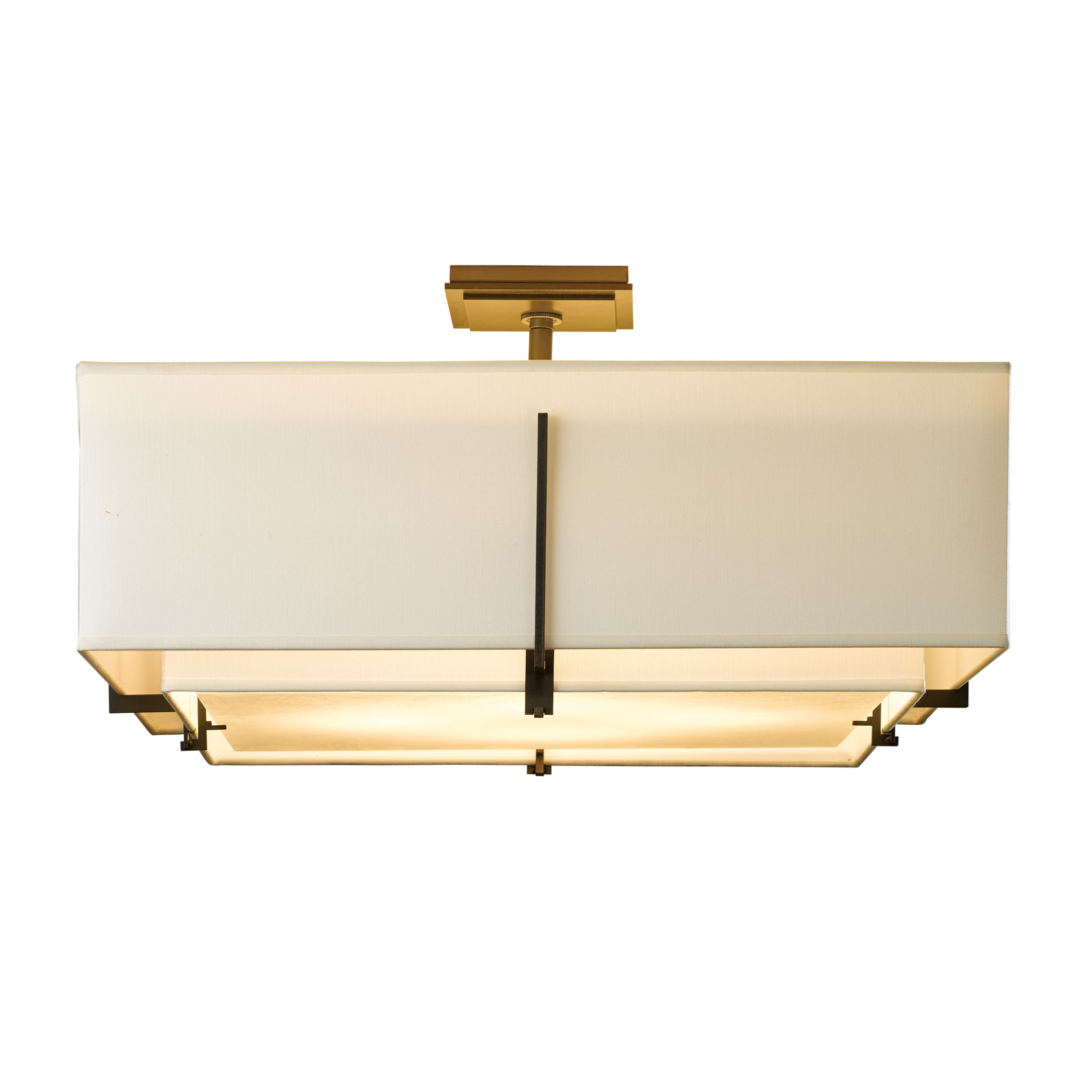 Hubbardton Forge Twilight: Exos Square Small Double Shade Semi-Flush