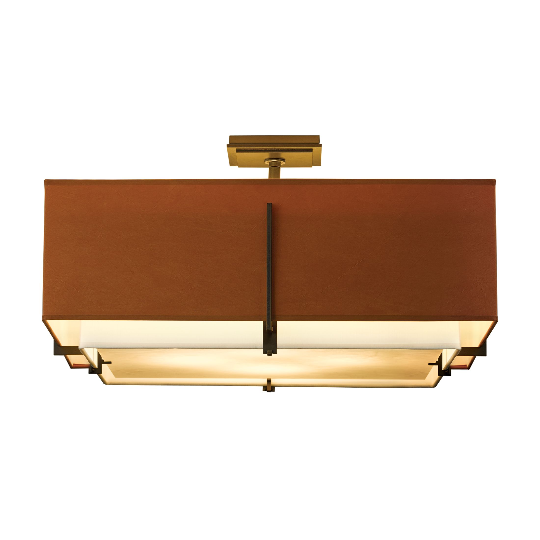 Exos Square Large Double Shade Semi Flush Hubbardton Forge
