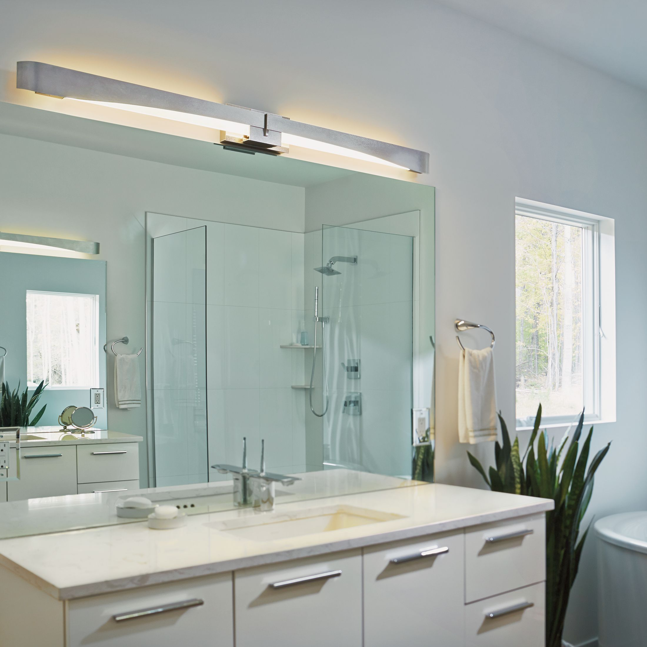 Glide LED Bath Bar Sconce Hubbardton Forge - Bathroom sconces with shades