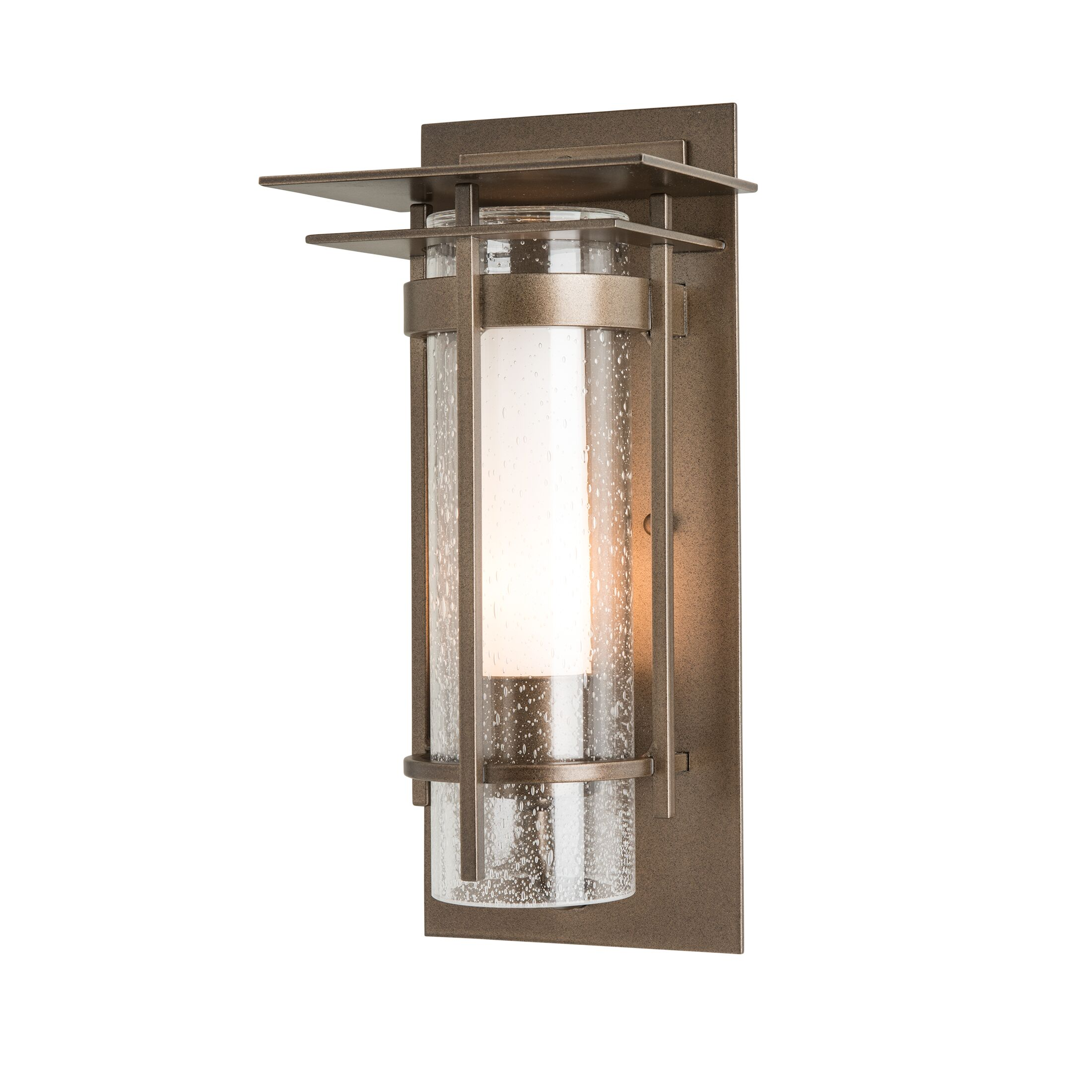 Thumbnail for Banded Seeded Glass Small Outdoor Sconce with Top Plate