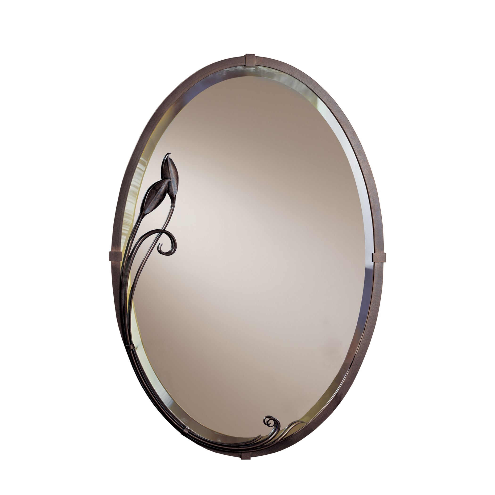 Thumbnail for Beveled Oval Mirror with Leaf