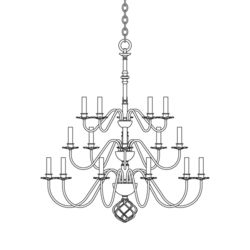 191536 Ball Basket 20 Arm Chandelier