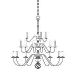 191542 Ball Basket 21 Arm Chandelier