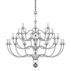 191560 Ball Basket 36 Arm Chandelier