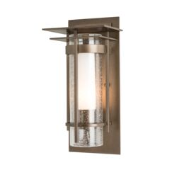 305996 Banded Seeded Glass Small Outdoor Sconce with Top Plate