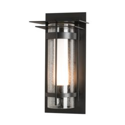 305997 Banded Seeded Glass with Top Plate Outdoor Sconce
