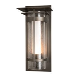 305998 Banded Seeded Glass with Top Plate Large Outdoor Sconce