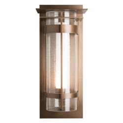 305999 Banded Seeded Glass XL Outdoor Sconce with Top Plate