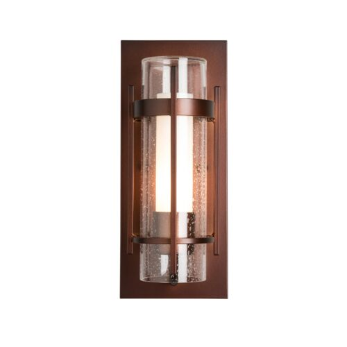 Product Detail: Banded Seeded Glass Small Outdoor Sconce