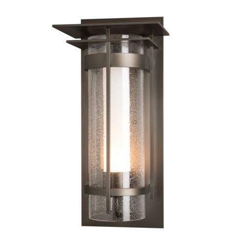 Product Detail: Banded Seeded Glass with Top Plate Large Outdoor Sconce