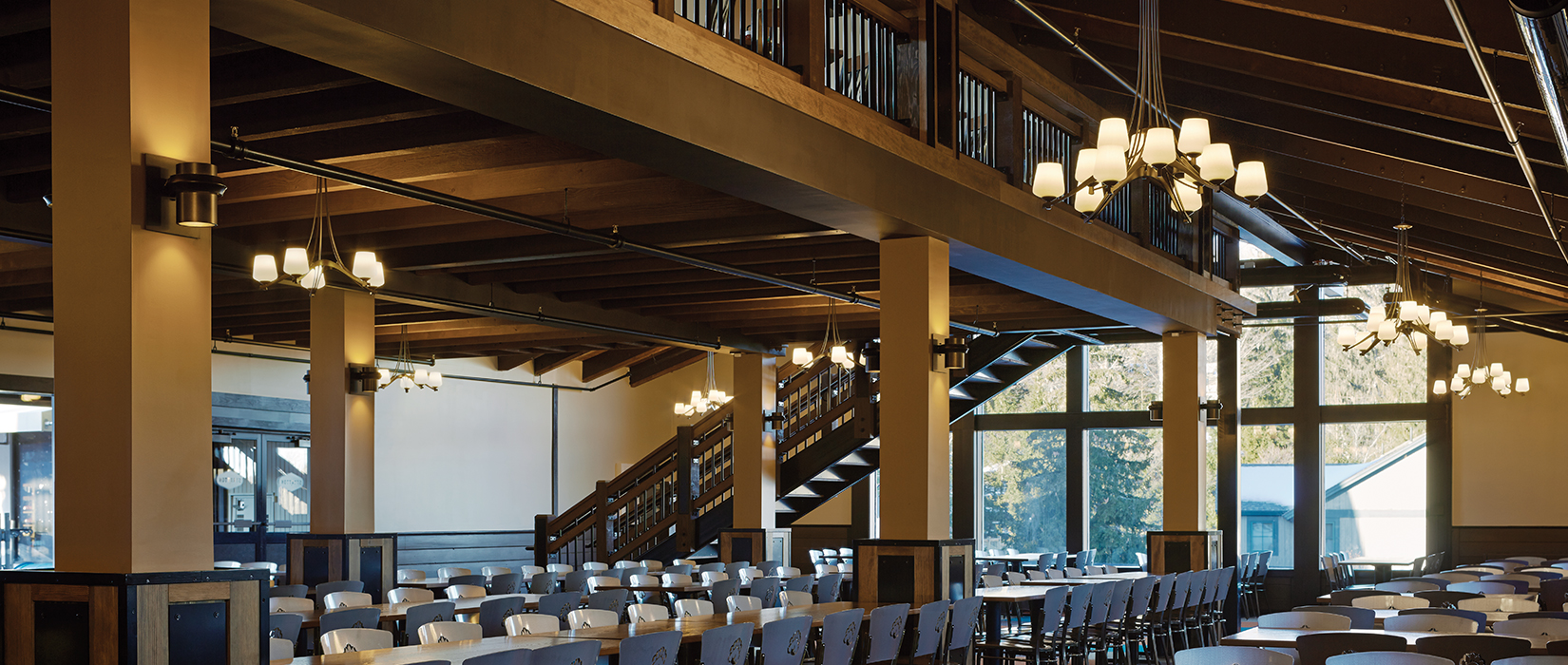 Stratton Mountain Resort Base Lodge with Hubbardton Forge Chandeliers