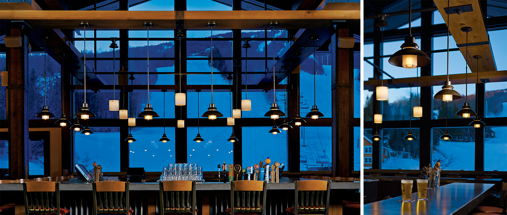 Stratton Mountain Base Lodge at dusk with Hubbardton Forge lighting