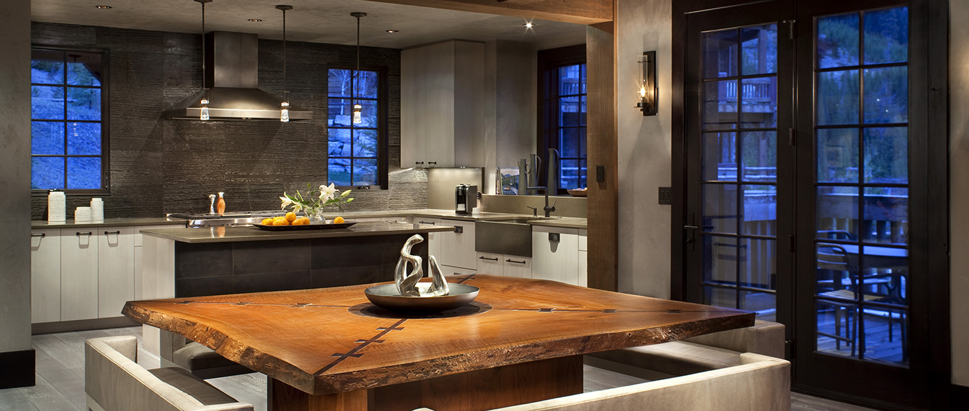 Lisa Kanning Interior Design contemporary kitchen design featuring Hubbardton Forge lighting